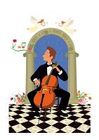チェロを弾く男性