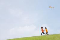 草原でカイトで遊ぶ双子の兄弟