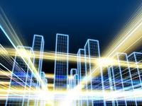 光が高速で移動するハイテク都市