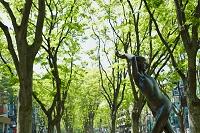 宮城県 新緑の定禅寺通りのグレコ像