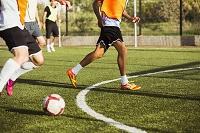 練習をするサッカー選手たち
