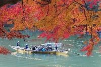 保津川下りの舟と紅葉