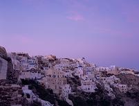 イアの白い街並み 夕景