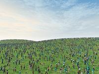 群衆と緑の丘