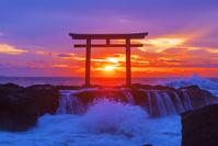 茨城県 大洗海岸の日の出 神磯の鳥居