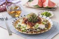 鰻と山芋のスタミナ冷やし蕎麦