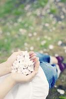 桜の花びらを持つ手