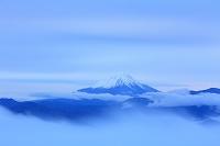 山梨県 早朝の富士山と雲海の山並み