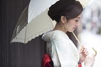 日傘を差す着物の日本人女性