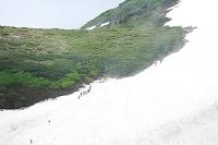 北海道 赤岳の雪渓と登山者