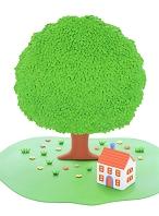 粘土の家と大樹