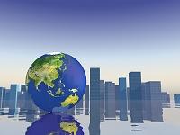 都市風景と地球儀