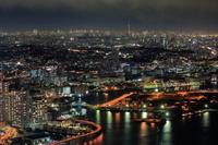 東京都 神奈川県 ランドマークタワー展望室から鶴見方面の夜景