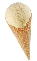 コーンに入ったバニラアイスクリーム
