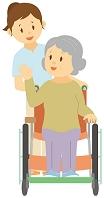介護士に車いすを押してもらう老人女性