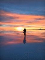 ウユニ塩湖の夕焼け
