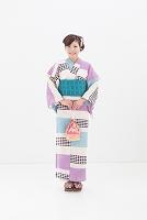 浴衣の笑顔の日本人女性