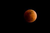 皆既月食中の赤い月