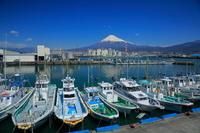 静岡県 田子の浦の漁港と富士山