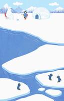 北極 冬の氷河とシロクマ