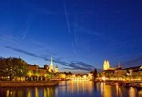 スイス リマト川とチューリッヒの夜景