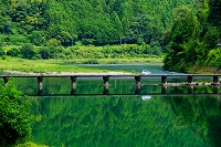 高知県 仁淀川と片岡沈下橋
