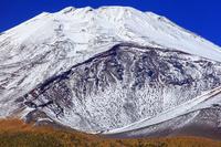静岡県 水ヶ塚より紅葉と宝永火口と富士山