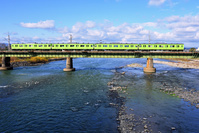 京都府 奈良線 鉄橋を渡る103系普通電車