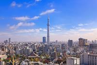 東京都 東京スカイツリーと浅草寺と都心の街並み