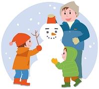 雪だるまを作る親子