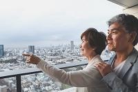 遠くを眺める日本人シニア夫婦