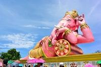 タイ チャチュンサオ県 ワット・サマン ピンクのガネーシャ