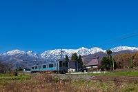 大糸線の列車と後立山連峰