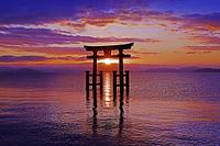 滋賀県 高島市  白髭神社  朝景