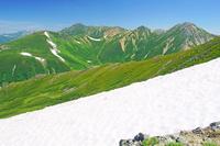 富山県 三俣蓮華岳から水晶岳中央奥と鷲羽岳右の山