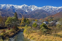 長野県 姫川と大出の吊橋と白馬三山(白馬鑓ヶ岳,杓子岳,白馬岳)