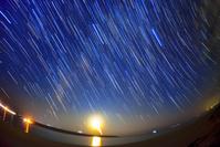 沖縄県 宮古島与那覇前浜ビーチの天の川と月