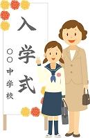 入学式でポーズをとる中学生女子
