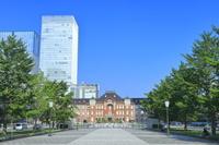 東京都 東京駅丸の内駅舎とビル群