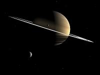 イラスト 土星と衛星