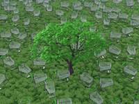 木野はえた草原にたくさんのショッピングカート