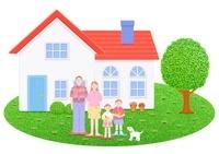 日本人家族と一軒家