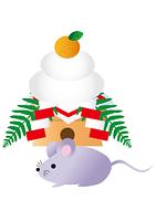 子年のネズミと鏡餅