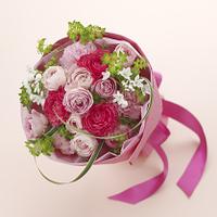 春 花束 ピンク ラナンキュラス スプレーバラ