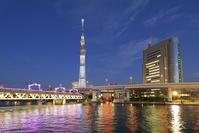 東京都 隅田川と東京スカイツリーの夜景