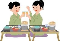 温泉旅館で宴会を楽しむ若い女性