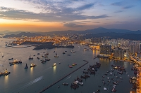 中国 香港 夕暮れ