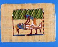 パピルス ミイラとアヌビス神