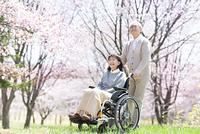 車椅子に乗るシニア女性