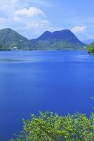 秋田県 仙北市 宝仙湖 湖面と新緑の山並